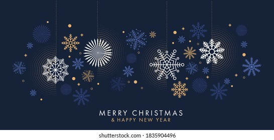 Merry Christmas and Happy New Year background, greeting card, poster, holiday cover. Design template with border made of beautiful snowflakes in modern flat line art style. Xmas decoration. Vector
