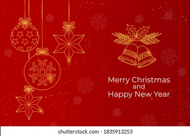 Merry Christmas and Happy New Year web banner illustration of gold luxury geometric art deco style element for elegant holiday celebration. vector illustration.