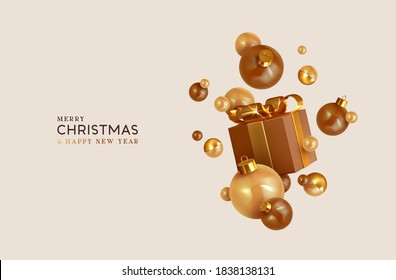 Merry Christmas and Happy New Year. Background with realistic festive gift box. Xmas present. Gold gift boxes with surprise, Golden Christmas baubles, balls. Flyer and brochure. Vector illustration