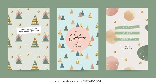 Merry Christmas and Happy New Year Set of greeting cards, posters, holiday covers. Trendy modern Xmas design templates with typography, foil pressed firs, dots and watercolor textured elements.