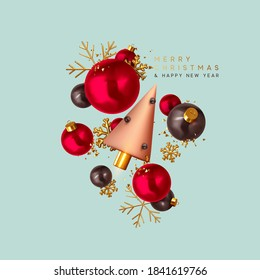 Merry Christmas and Happy New Year. Xmas Festive background with realistic 3d objects, black and red bauble balls, conical metal christmas tree. Gold snowflake. Levitation falling design composition.
