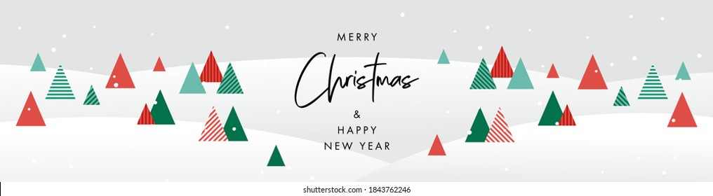 Merry Christmas and Happy New Year banner. Trendy modern Xmas geometric design with winter landscape forest in green, red, white colors. Horizontal poster, greeting card, header for website.