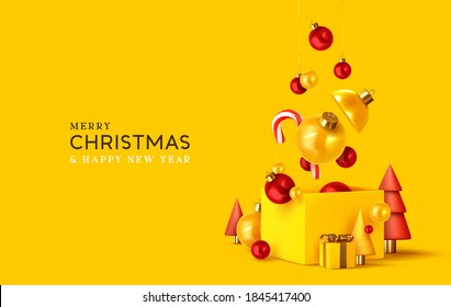 Merry Christmas and Happy New Year. Xmas design realistic abstract 3d objects. Gift box, bright bauble balls hanging from ribbon, conical pine tree, spruce, Soft yellow-red colors. vector illustration