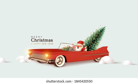 Merry christmas and Happy New Year. Santa Claus in red retro convertible car carries Christmas tree. Xmas 3d design, vintage banner, modern poster, holiday flyer, brochure. Winter vector illustration