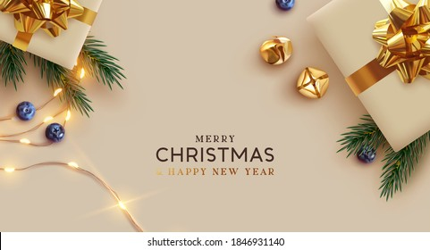 Merry Christmas and Happy New Year. Background Xmas design realistic gifts box, festive decorative objects. flat lay top view. Christmas poster, holiday banner, flyer, stylish brochure, greeting card - Shutterstock ID 1846931140
