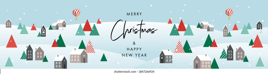 Merry Christmas and Happy New Year banner. Modern Xmas geometric design with winter landscape with village houses, forest in green, red, white colors. Horizontal poster, greeting card, header for web