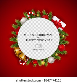 Merry Christmas and Happy New Year Photo Frame Template. Vector Illustration EPS10