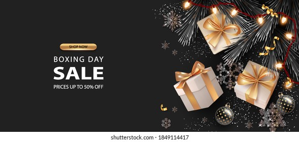Merry Christmas and Happy New Year background. Boxing day banner with gift boxes and decorations