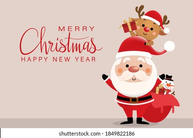 Merry Christmas and happy new year 2021 greeting card with cute Santa Claus, deer and snowman. Holiday cartoon character in winter season. -Vector.