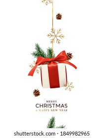 Merry Christmas and Happy New Year. Background with realistic festive gifts box. Xmas present. white boxes with red ribbon gift surprise. Decorative ornament gold snowflake, pine cone, spruce branches