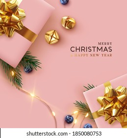 Merry Christmas and Happy New Year. Background Xmas design realistic gifts box, festive decorative objects. flat lay top view. Christmas poster, holiday banner, flyer, stylish brochure, greeting card - Shutterstock ID 1850080753