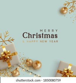 Merry Christmas and Happy New Year. Background with realistic festive gift box. Xmas present. Gift boxes with surprise, Golden Christmas baubles, balls. Flyer and brochure. glitter gold confetti