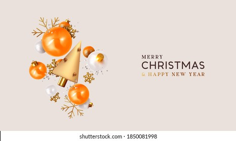 Merry Christmas and Happy New Year. Xmas Festive background with realistic 3d object, orange and white bauble balls, conical metal christmas tree. Gold snowflake. Levitation falling design compositio