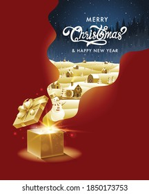 Merry Christmas, happy new year, calligraphy, Golden ,Landscape fantasy , vector illustration.