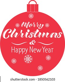 Merry Christmas and happy new year red ball