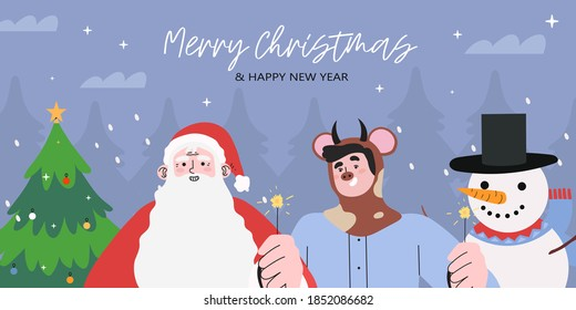 merry christmas and happy new year greeting banner, landing web page, social media header with santa claus, christmas tree, snowman and man in ox or bull costume holding bengal lights and celebrating.