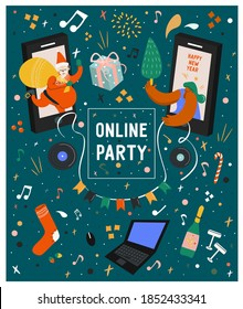 Merry Christmas and Happy New Year. Online celebration. Online party. Online festival. Holidays in the period of self-isolation. Bright vector flat holiday poster in cartoon style with girl and Santa
