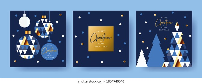 Merry Christmas and Happy New Year Set of greeting cards, posters, holiday covers. Modern Xmas design with triangle firs pattern in blue, gold, white colors. Christmas tree, ball, decoration elements