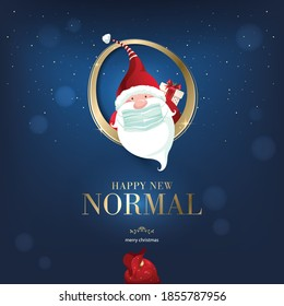 Merry Christmas and happy new year, 2021. Noel, banner, frame, header, background or greeting card design. Santa Claus in the year of Covid 19, protecting himself with a surgical mask.