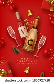 Merry Christmas and Happy New Year. Red Xmas Background design realistic alcohol bottle of champagne and wine, festive decorative objects gift box, balls, Christmas tree and pine tree, golden confetti