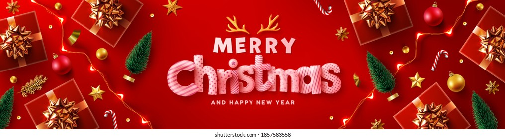 Merry Christmas & Happy New Year Promotion Poster or banner with red gift box,LED String lights and christmas element for Retail,Shopping or Christmas Promotion in red and gold style.