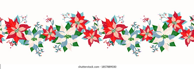 Merry Christmas and Happy New Year seamless long border pattern decoration background with cute poinsettia flower, leaf and elderberry fruits garland design