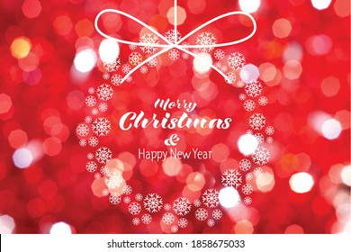 Merry Christmas and Happy New Year lettering over red bockhe background