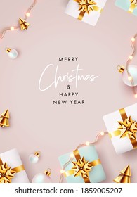 Merry Christmas and Happy New Year background, greeting card, Sale poster, holiday cover. Modern Xmas banner design with realistic gift boxes, golden conical Christmas trees, bauble balls and lights