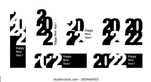 Merry Christmas and Happy New Year 2022 background in typographical style, card.