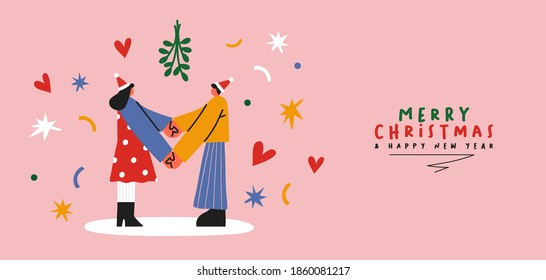 Merry Christmas Happy New Year greeting banner illustration, trendy flat cartoon couple holding hands under mistletoe with festive text quote. Man and woman in love for xmas holiday season design.