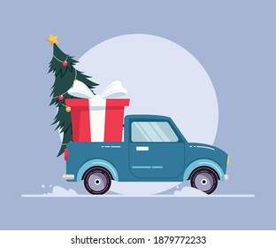 Merry Christmas and Happy New Year Design. Pickup truck with Christmas tree and gift box