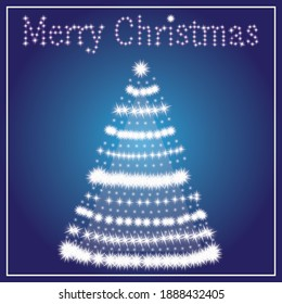 Merry Christmas and Happy New Year. Christmas tree, white stars and elegant lettering on blue background. Vector illustration in flat style.