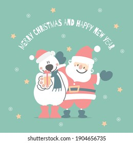 merry christmas and happy new year with cute santa claus and white teddy polar bear, snowflake, star in the winter season green background, flat vector illustration cartoon character costume design