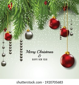 Merry Christmas and Happy New Year 2022 banner, Xmas festive decoration. Horizontal Christmas posters, cards, headers, website. Vector illustration