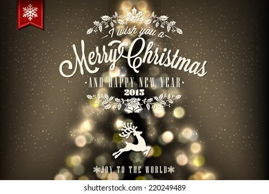 Merry Christmas And Happy New Year Vintage Background With Typography