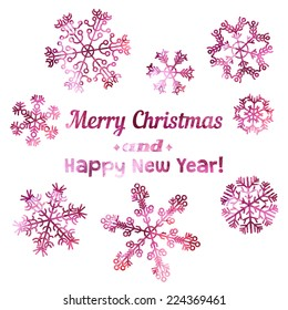 Merry Christmas and Happy New Year card. Set of beautiful vector snowflake made by traced watercolor splatter.