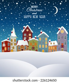 Merry Christmas and happy new year, town in winter.Vector