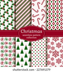 Merry Christmas and Happy New Year! Set of holiday backgrounds. Collection of seamless patterns with white, red and green colors. Vector illustration.