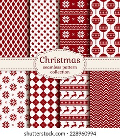 Merry Christmas and Happy New Year! Set of winter holiday backgrounds. Collection of seamless patterns with red and white colors. Vector illustration.