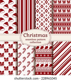 Merry Christmas and Happy New Year! Set of holiday backgrounds. Collection of seamless patterns with red and white colors. Vector illustration.