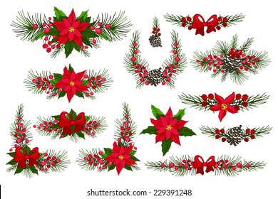 Merry Christmas and Happy New Year group,border.Modern flat decor elements for invitations,print,feb,card,banner. Christmas festive vector