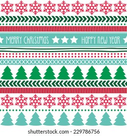 merry christmas and happy new year pattern vector illustration