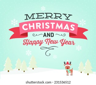 Merry Christmas and Happy New Year | Christmas Landscape Vector with Reindeer