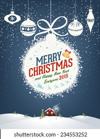 Merry Christmas And Happy New Year Typographical Background With Balls And Winter Landscape