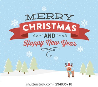Merry Christmas And Happy New Year Holiday Vector with Reindeer
