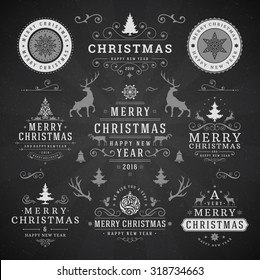 Merry Christmas And Happy New Year Wishes Typographic Labels and Badges set, Vintage decorations, objects, symbols and elements, vector illustration on blackboard