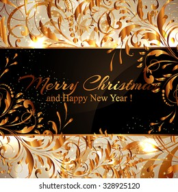Merry Christmas and Happy New Year Card Xmas Card. Blur Silver Snowflakes. Vector.