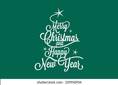 Merry Christmas and Happy New Year large postcard with calligraphic text