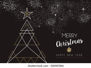 Merry christmas happy new year pine tree design in art deco outline style. Ideal for xmas greeting card or holiday poster. EPS10 vector.