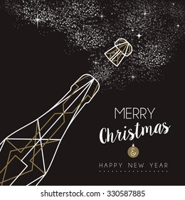 Merry christmas happy new year champagne bottle design in art deco outline style. Ideal for xmas greeting card or holiday poster. EPS10 vector.